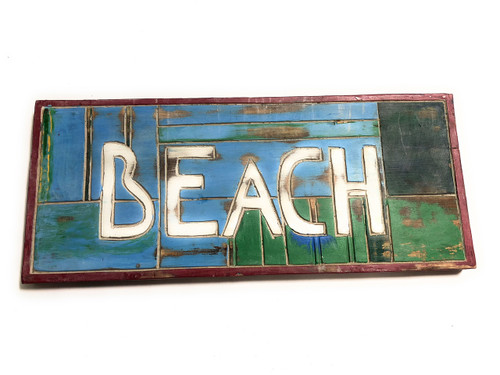"""Beach Sign 14"""" - Weathered Finish - Cottage Decor 