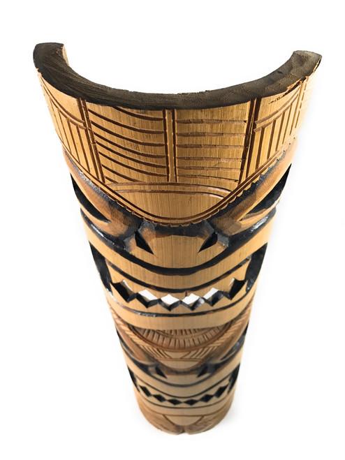 "Love & Prosperity Bamboo Tiki Mask 20"" - Burnt Finish | #dpt5098"