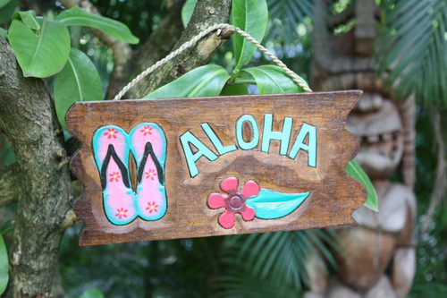 """Aloha Sign w/ Slippers and Hibiscus Sign 12"""" - Tropical Decor 