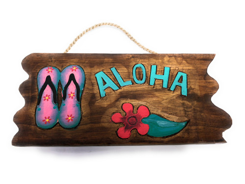 "Aloha Sign w/ Slippers and Hibiscus Sign 12"" - Tropical Decor 