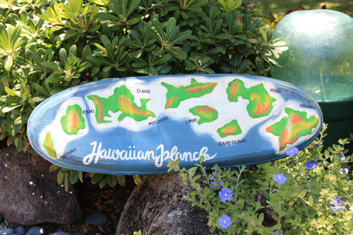 "Hawaiian Islands Chain 24"" - Hand Painted & Carved 