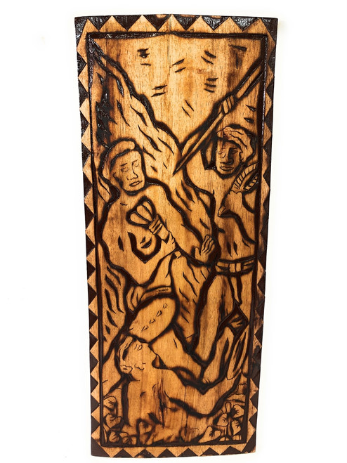 "The First Battle Wood Panel 30"" X 12"" King Kamehameha - Polynesian Wall Art 