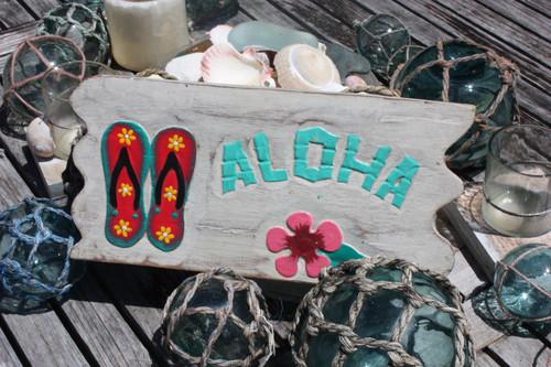 "Aloha Sign 12"" w/ Slippers Whitewash Driftwood   #dpt534830"