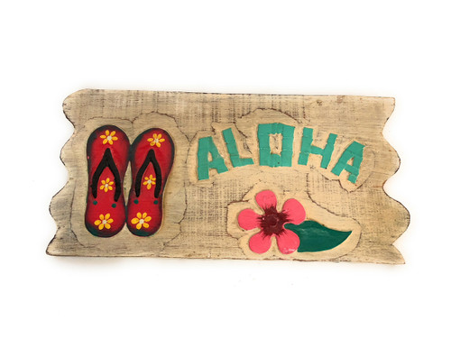 "Aloha Sign 12"" w/ Slippers Whitewash Driftwood 