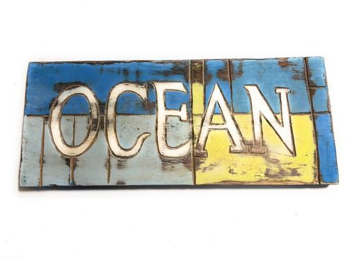"Ocean Sign 14"" - Weathered Coastal Tone - Cottage Decor | #bds1207835"