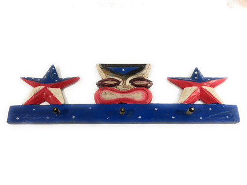 Tikified Americana Wooden Hanger 24 inch w/ 3 Pegs - Tiki Style | #dpt531260