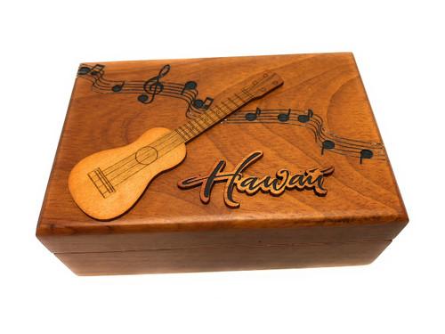 Wooden Jewelry Keepsake Box w/ Ukulele Design | #R5274