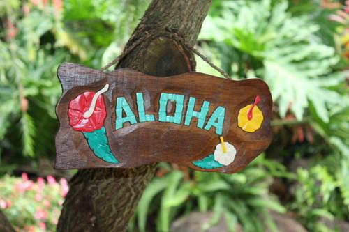 """Aloha"" w/ Hibiscus Flowers - Hand Carved 12"""