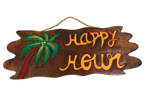 "Tiki Bar ""Happy Hour"" Driftwood Sign 20"" - Tropical Accents 