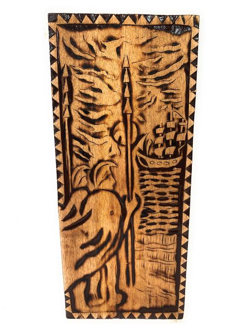 "Sailing Away Wood Panel 30"" X 12"" King Kamehameha - Polynesian Wall Art | #dpt5052"