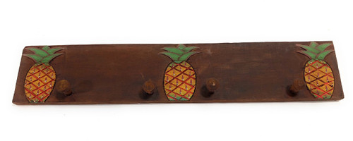 "3-Pineapple Hanger 20"" w/ 4 Pegs - Tropical Decor 