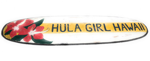 "Hula Girl Hawaii Surf Sign 40"" - Rustic Surfing Decor 