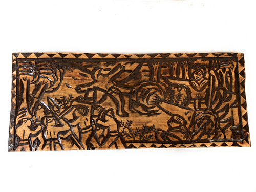 "Across Molokai Channel Wood Panel 30"" X 12"" King Kamehameha - Polynesian Wall Art 