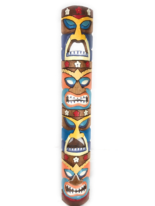 "Colorful Love, Money, Health Tiki Mask 40"" - Carved/Painted 