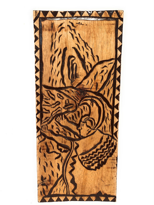 "The Lava Flow Wood Panel 30"" X 12"" King Kamehameha - Polynesian Wall Art 
