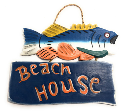 "Beach House Sign 15"" w/ Bass - Decorative Lake Sign 