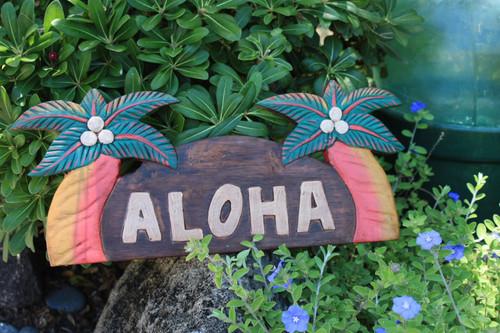 "Aloha Sign w/ Palm Trees 14"" - Tropical Decor | #bag1501840"