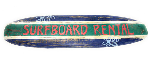 "Surfboard Rental Rustic Surf Sign 40"" - Surf Decor Accents 