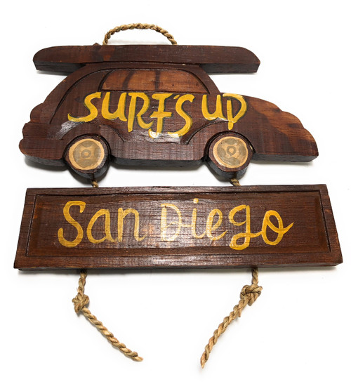 "Surf's Up, San Diego Woody Car Sign 10"" - Surf Decor 