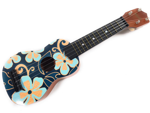 Ukulele - Blue and Yellow Hibiscus Aloha Floral Print 18"