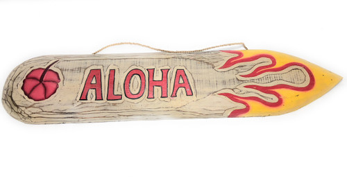 "Aloha Surf Sign 40"" w/ Flames Wall Art - Rustic Finish 