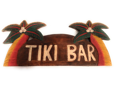 "Tiki Bar Sign w/ Palm Trees 14"" - Island Style 