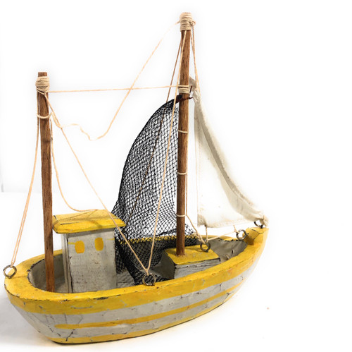"Decorative Fishing Boast 10"" - Rustic Coastal Yellow 
