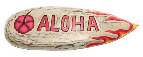 "Aloha w/ Flame Wooden Surf Sign 20"" Wall Art - Rustic Finish 