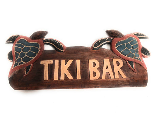 "Tiki Bar Sign 14"" w/ Turtles Honus - Hawaii Decor 