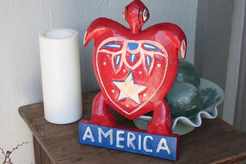 "Carved Turtle America 12"" w/ Aloha - Texas Americana Decor   #dpt5318"