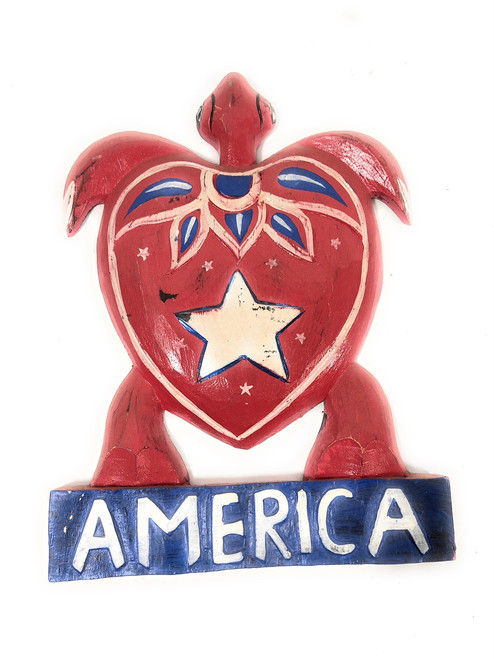"Carved Turtle America 12"" w/ Aloha - Texas Americana Decor 