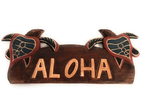 "Aloha Sign w/ Turtles 14"" - Hawaii Decor 