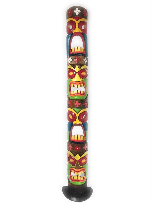 Love, Prosperity, Health, Luck Colorful Quadruple Tiki Mask on stand 60"