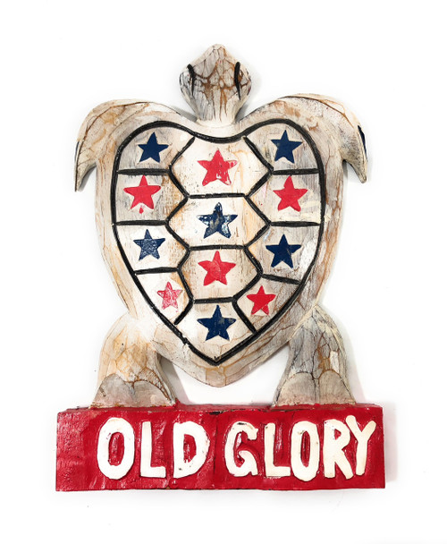 "Wooden Turtle ""Old Glory"" 14 inch - Americana Decor 