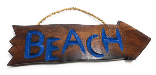 "Beach Arrow Driftwood Sign 12"" - Tropical Decor 