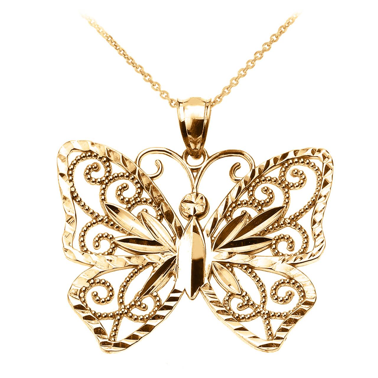 14k Yellow Gold Butterflies Pendant