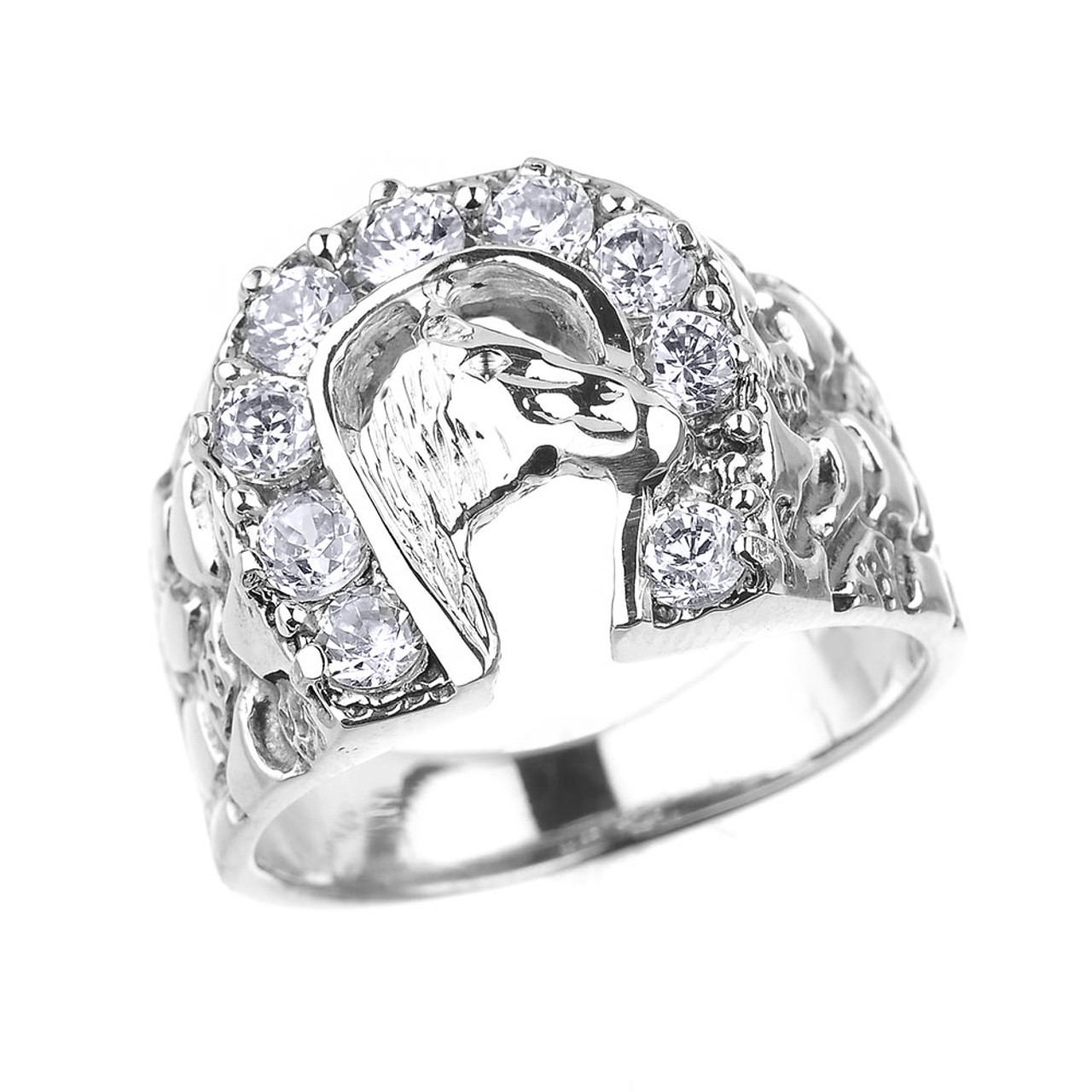 Sterling Silver Nugget Band Horseshoe With Horse Head Cz Men S Ring