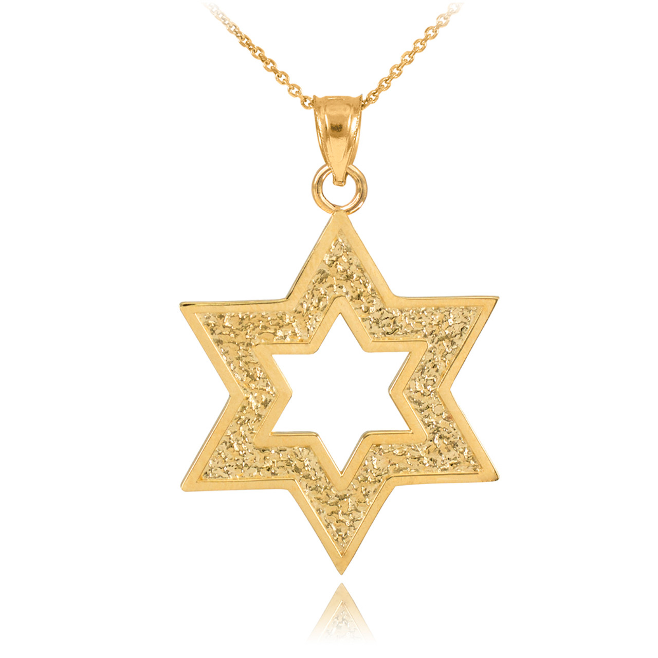 Gold Textured Star Of David Pendant Necklace