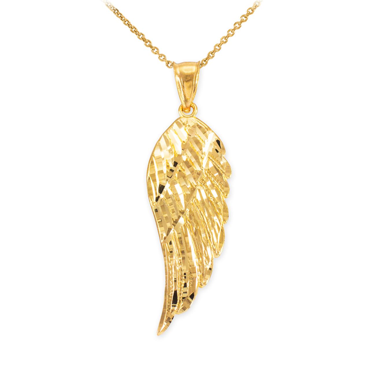 "Real 10K Solid Yellow Gold Diamond Cut 1/"" Praying Angel Charm Pendant."