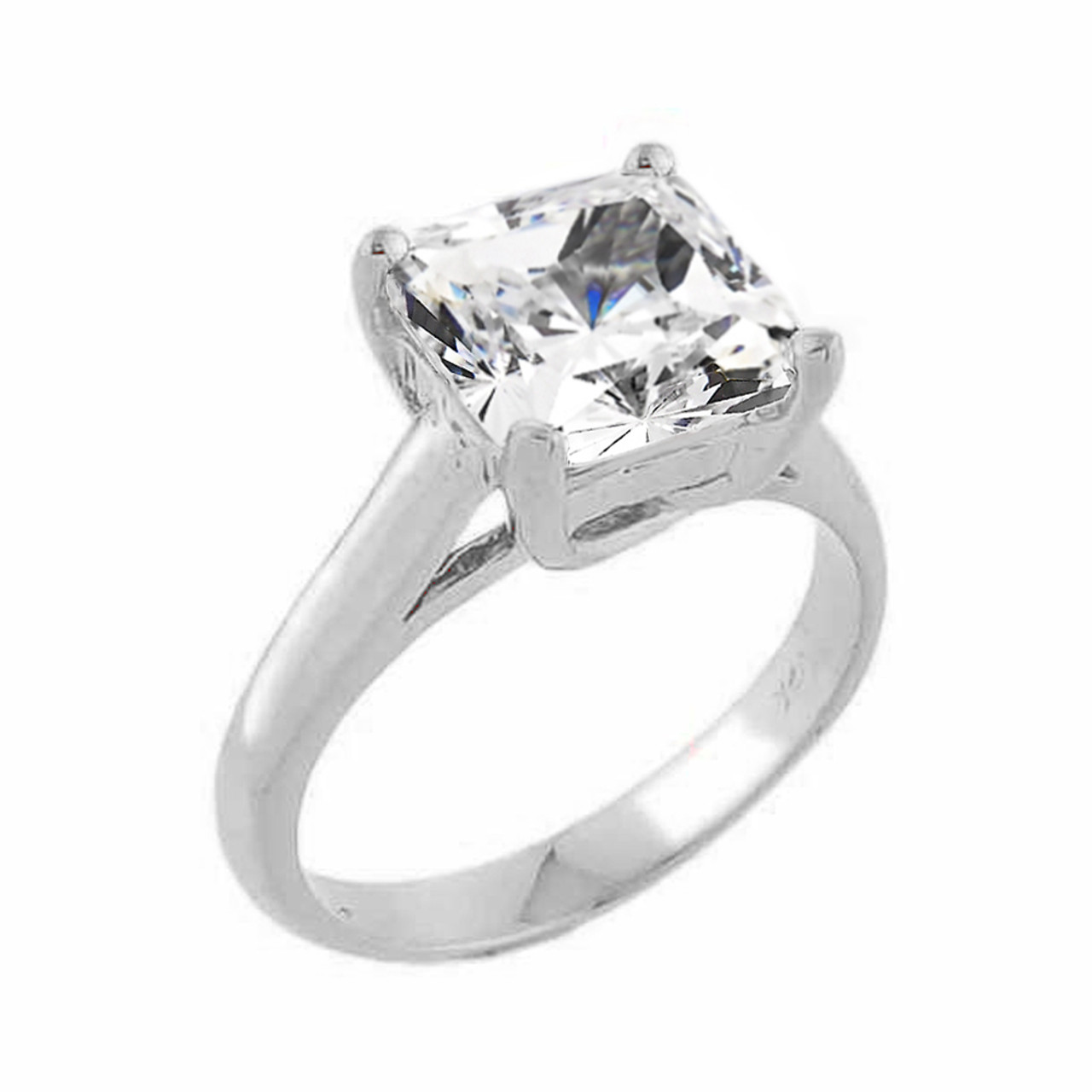 White Gold Princess Cut Cubic Zirconia Engagement Ring