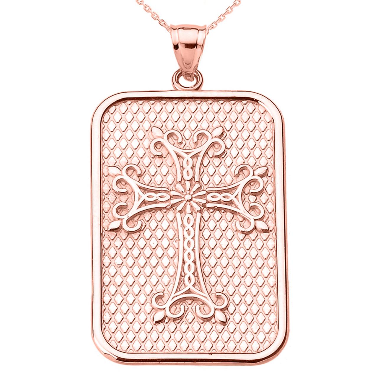 79040f5cb69a7 Rose Gold Armenian Apostolic Cross Pendant Necklace