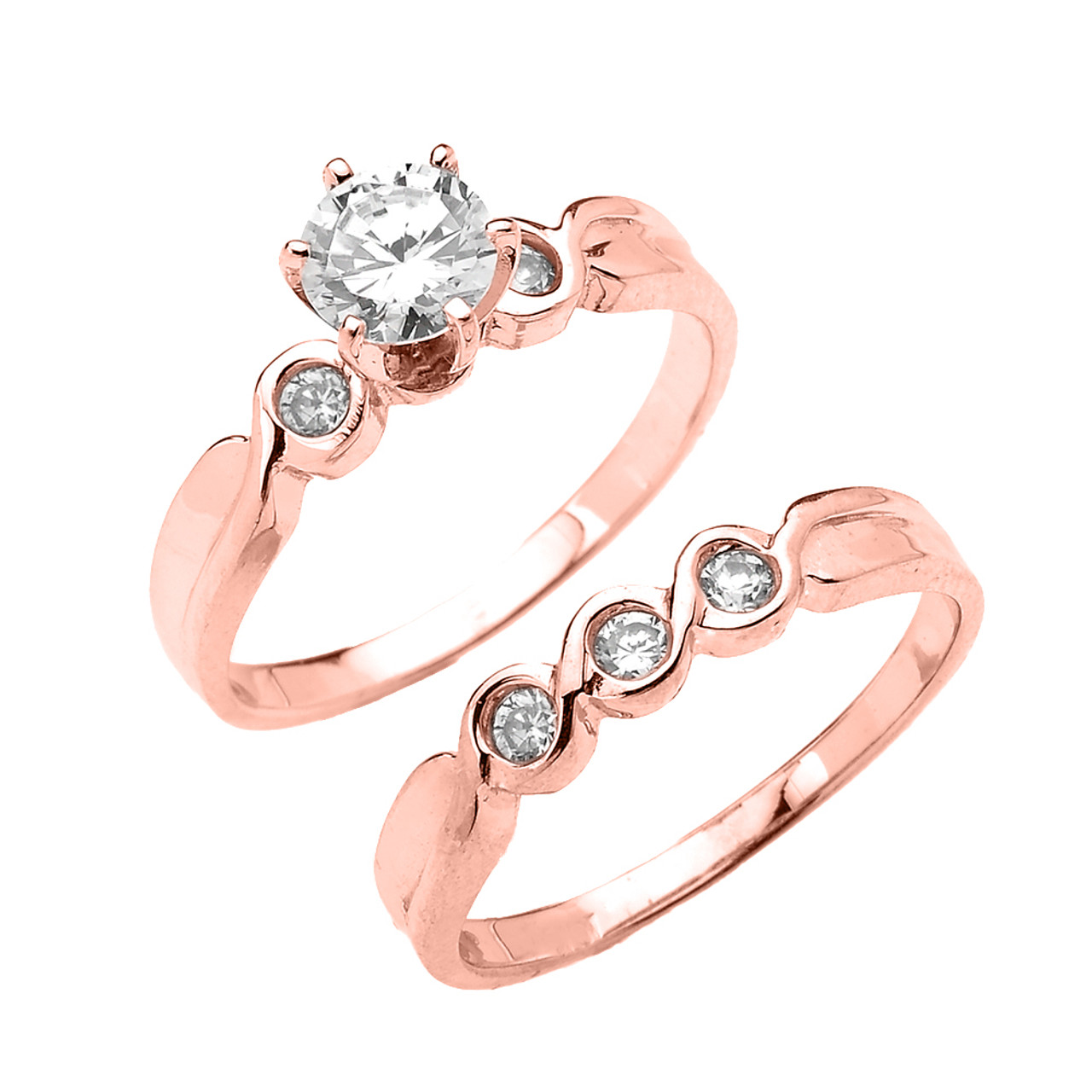 Rose Gold 6 Prongs Cubic Zirconia 2pc Engagement Wedding Ring Set: 2 Pc Wedding Ring Sets At Reisefeber.org