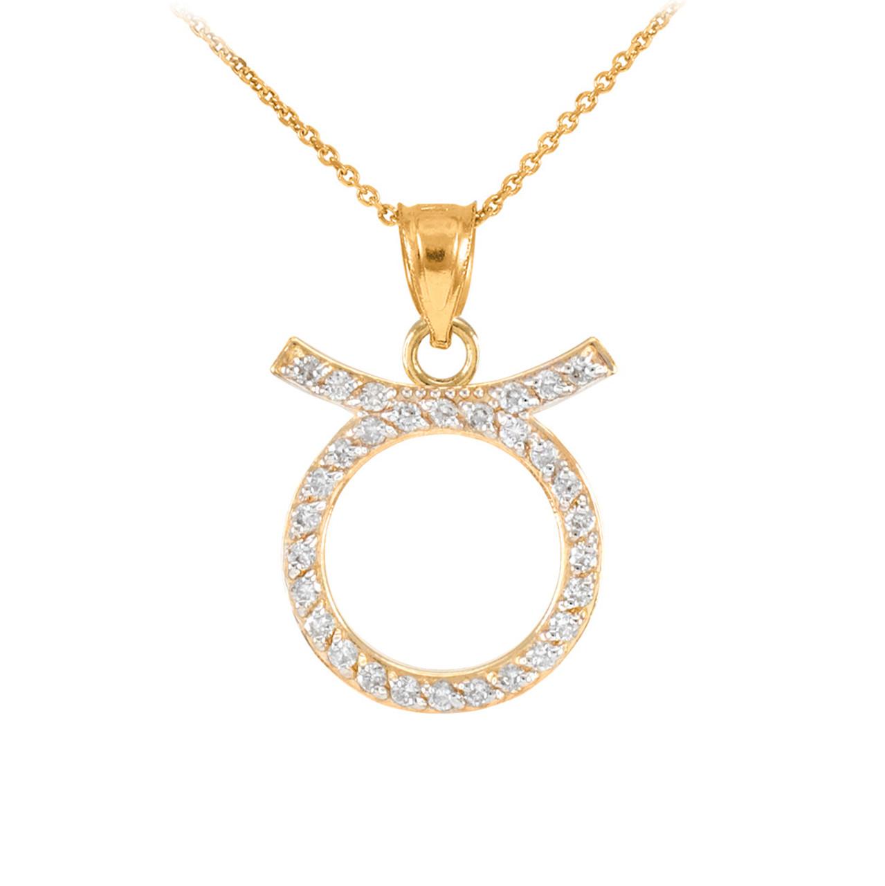 8383405732aae1 14K Gold Taurus Zodiac Sign Diamond Pendant Necklace