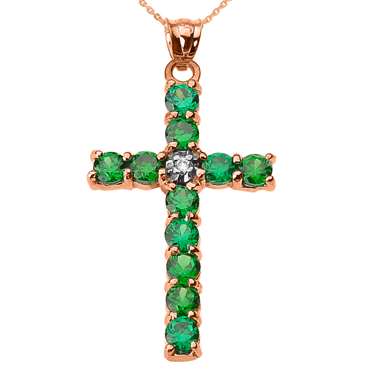 10k Rose Gold Diamond and Green CZ Cross Pendant Necklace 5abfae5c50ee