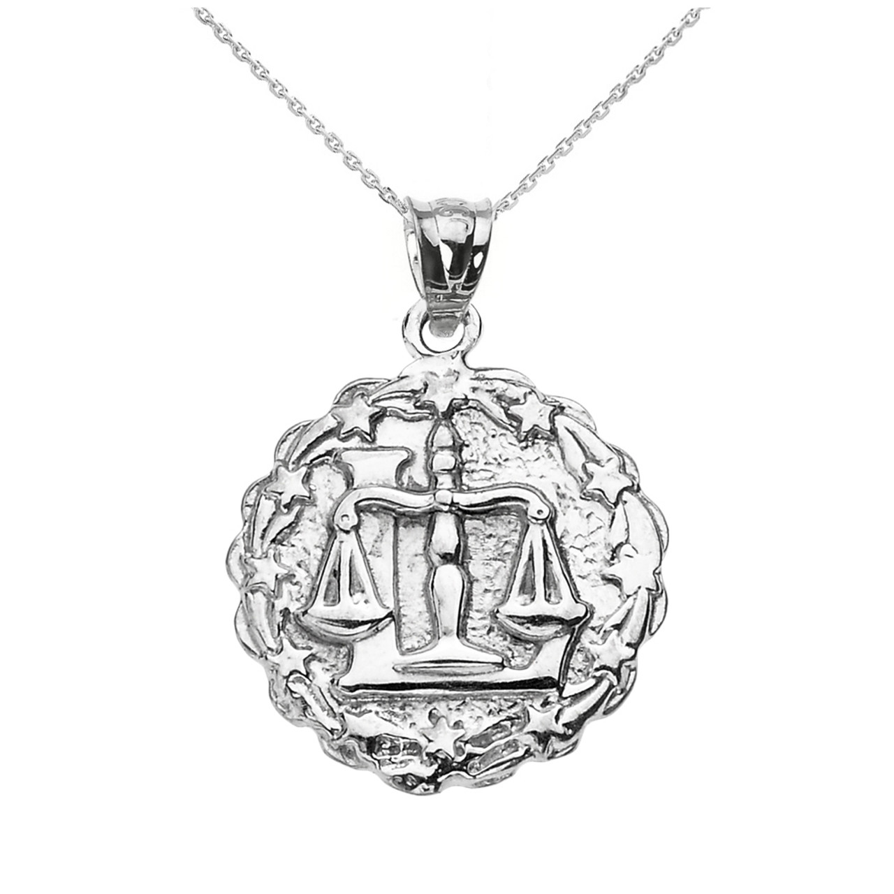 Sterling Silver Libra October Zodiac Sign Round Pendant