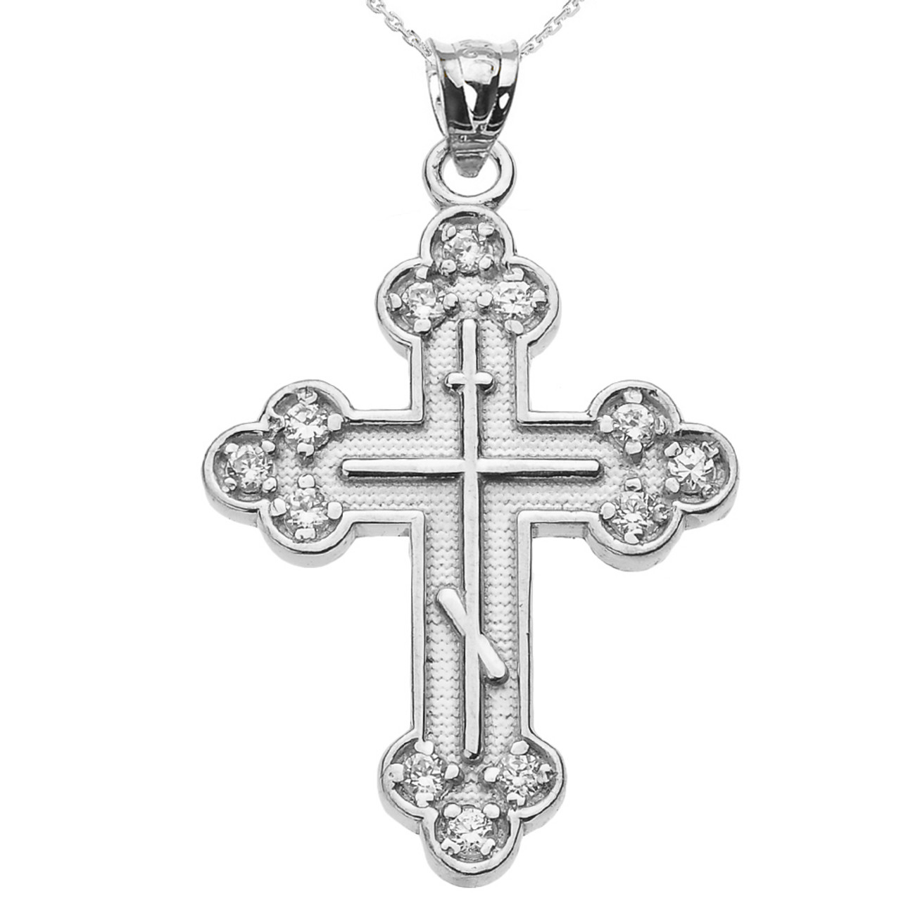 "925 Sterling Silver Cross ZIRCONE Zircone Cubique 20/"" Chaîne"