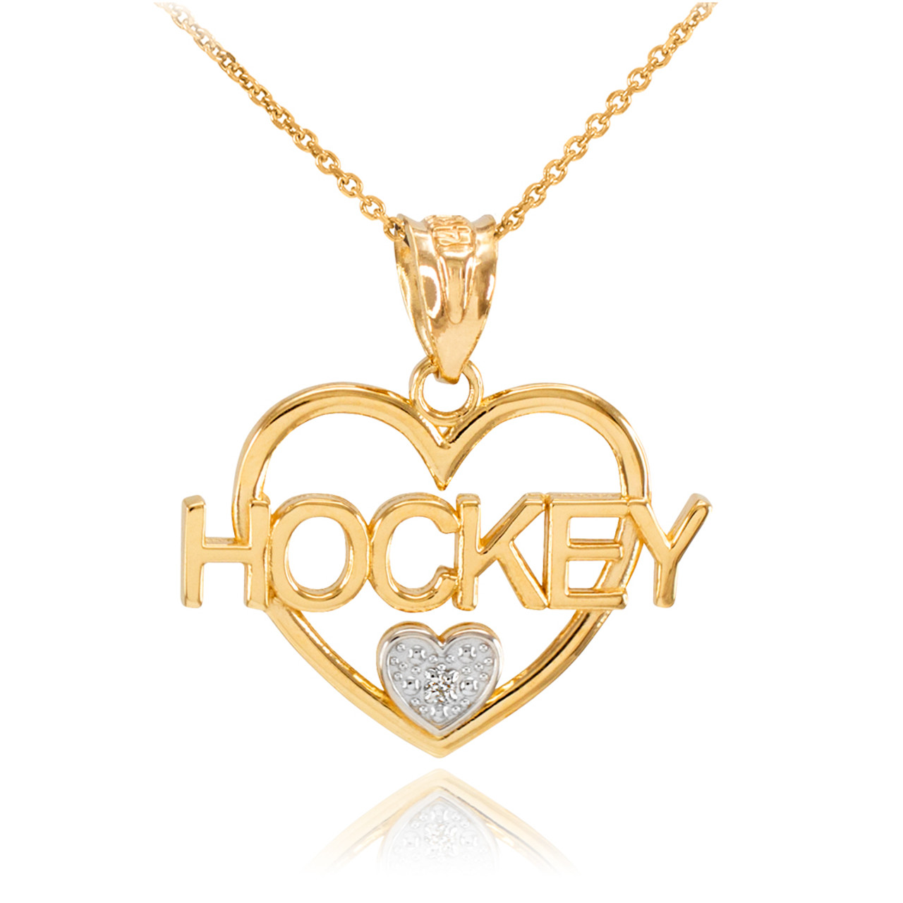 14K Yellow Gold  I LOVE HOCKEY Charm Pendant Necklace with Chain