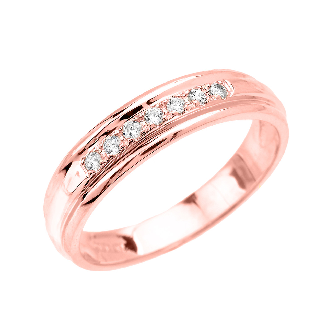 Men S Diamond Accent Wedding Band In Rose Gold