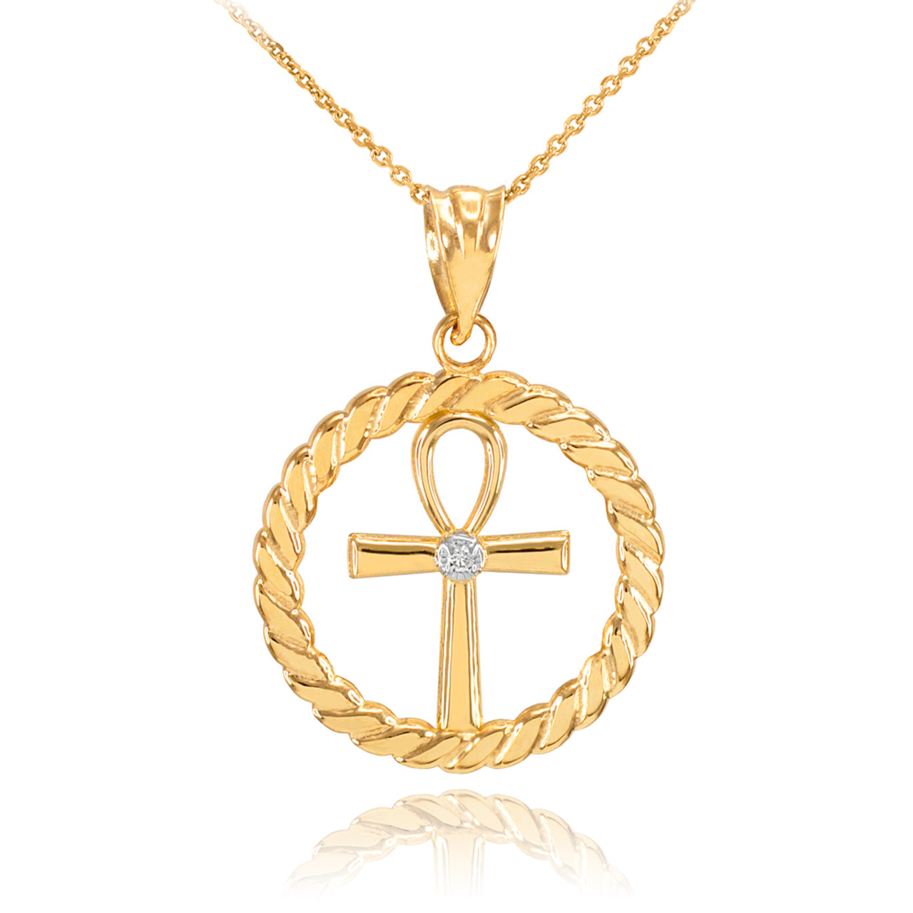 Egyptian Ankh Cross Solid Yellow 14k Gold Pendant Only