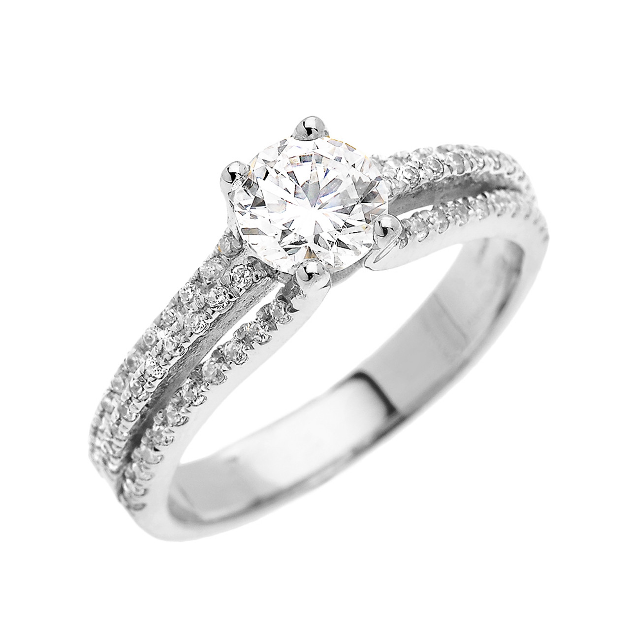 White Gold Micro Pave Modern Solitaire Cz Ring